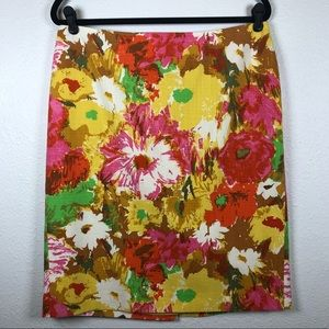 Talbots pink yellow floral pencil skirt size 12